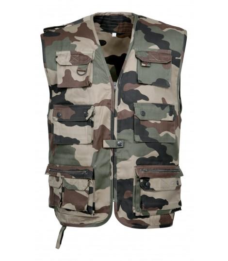 Gilet de reporter camouflage militaire