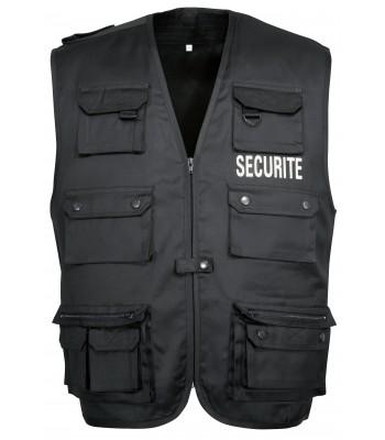 Gilet rangers securité noir avec marquage avant et arrière