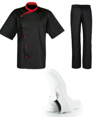 Kit vêtement de cuisine malin noir avec veste pantalon et chaussure bragard