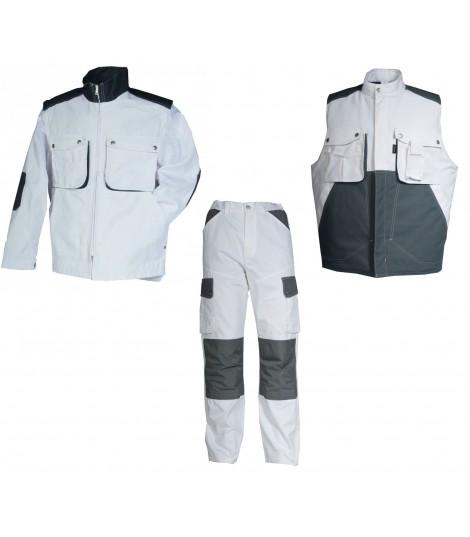 Kit peintre ou artisan 3 élements PAINT gris et blanc vêtement de travail luxembourg