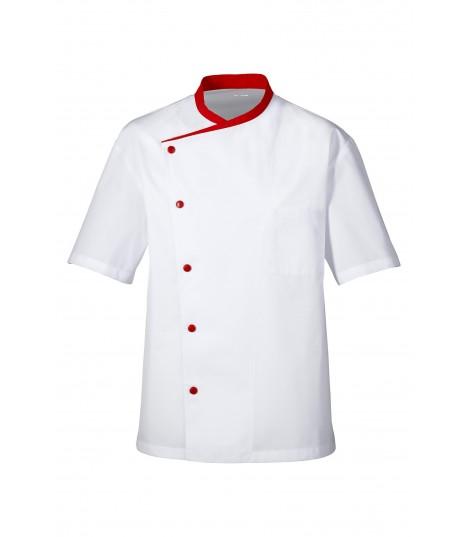 VESTE de cuisine julioso manches courtes blanc col rouge et boutons rouges
