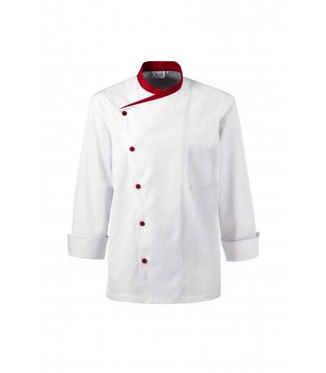 VESTE CUISINE JULIUSO manches longues col rouge vêtement professionnel luxembourg