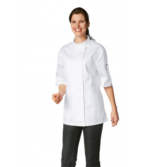 Veste de cuisine femme VERANA blanche manche courte