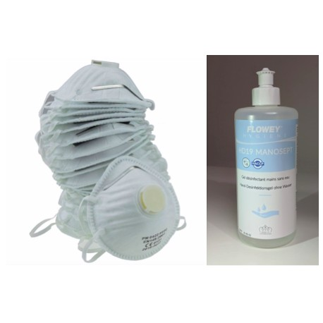 Lot de 10 masques FFP2 et Gel hydroalcoolique 500ml