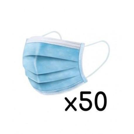Boite de 50 masques chirurgicaux 3 plis usage unique