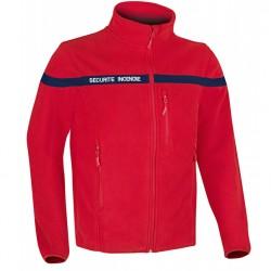 Blouson polaire SECU-ONE SECURITE INCENDIE couleur rouge avec bandes rétro-réfléchissante