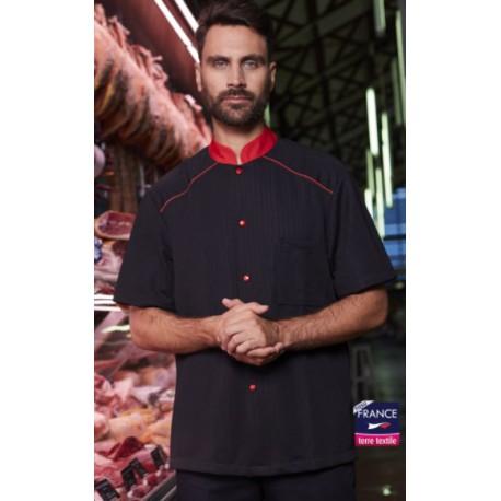 ARACI veste de boucher noir garni de rouge pour homme