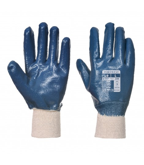 Gant coton, Double enduction nitrile, poignet tricot
